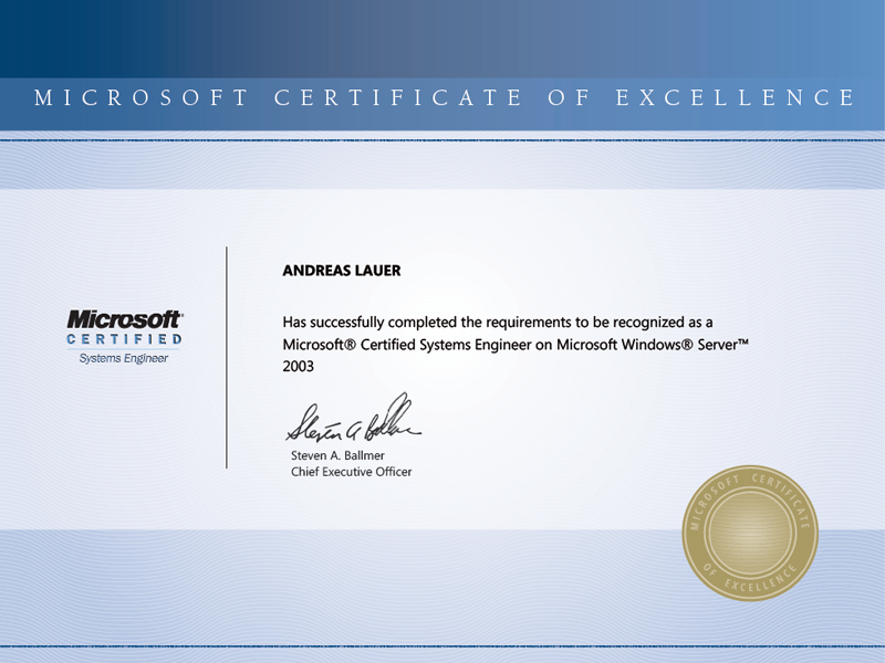 Microsoft Certified Systems Engineer on Microsoft Windows Server 2003 (MCSE)