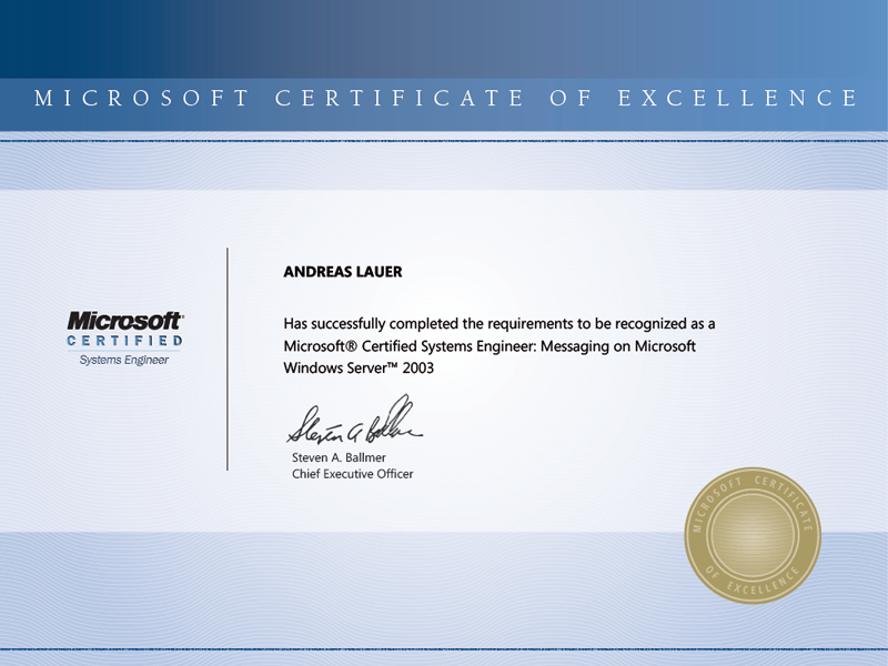 Microsoft Certified Systems Engineer: Messaging on Microsoft Windows Server 2003 (MCSE Messaging)