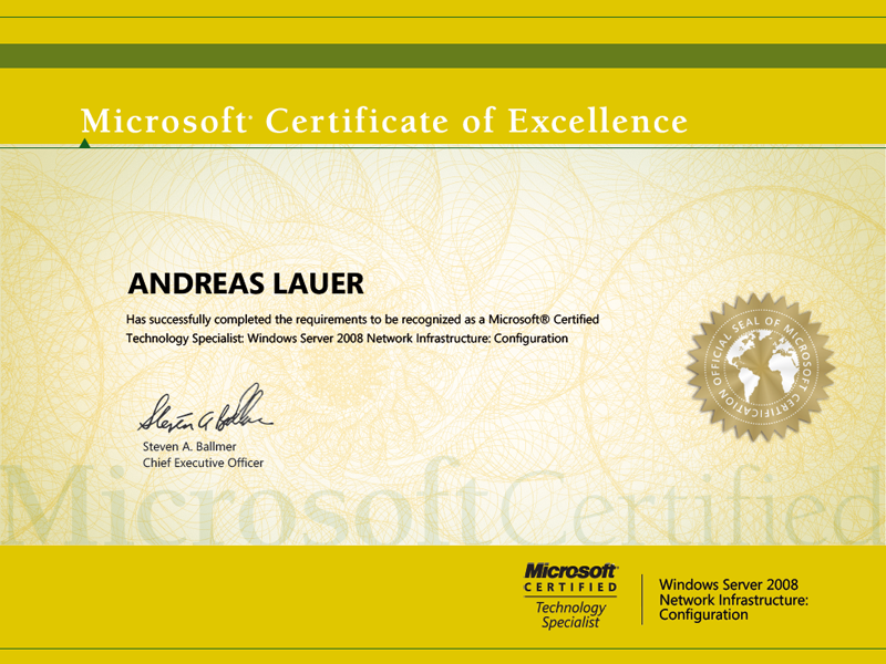 Microsoft Certified Technology Specialist (MCTS): Windows Server 2008 Network Infrastructure: Configuration