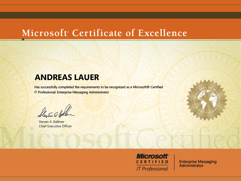 Microsoft Certified IT Professional (MCITP): Enterprise Messaging Administrator on Exchange 2007