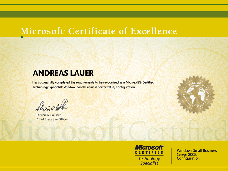 Microsoft Certified Technology Specialist (MCTS): Windows Small Business Server 2008, Configuration