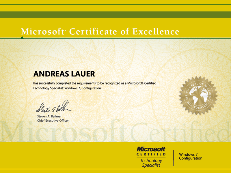Microsoft Certified Technology Specialist (MCTS): Windows 7, Configuration