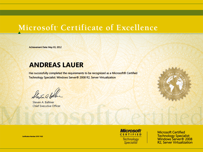 Windows Certified Technology Specialist (MCTS): Microsoft Server 2008 R2, Server Virtualization