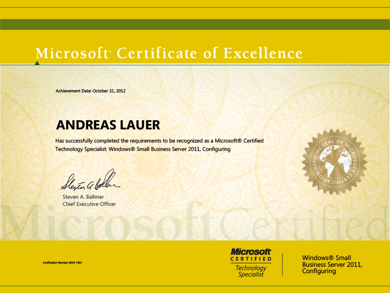 Windows Certified Technology Specialist (MCTS): Windows Small Business Server 2011, Configuring